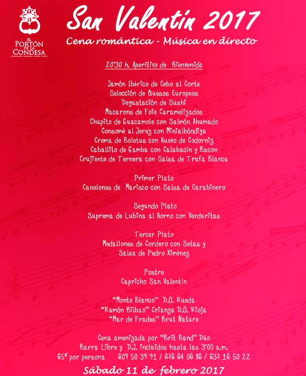 Cena san valentín 2017 en El Portón de la Condesa.